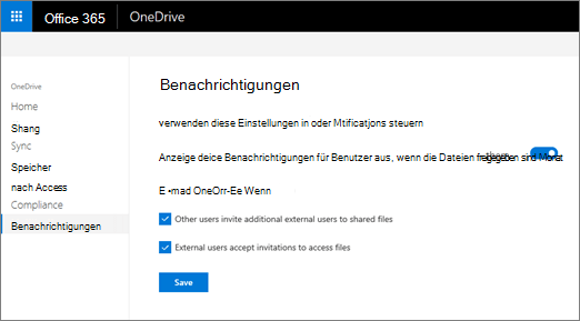 Die Registerkarte Benachrichtigungen der OneDrive-Verwaltungskonsole