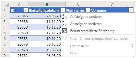 Verwenden Sie Excels Tabellenfilter, um in auf- oder absteigender Reihenfolge zu sortieren