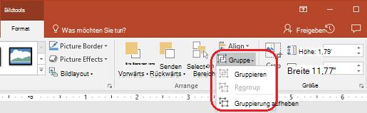 Der Befehl ' Gruppierung aufheben ' auf der Registerkarte ' Format ' im PowerPoint-Menüband unter ' Bildtools '.