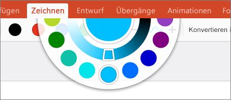 """Zeigt das Farbenrad für weitere Farboptionen auf der Registerkarte """"Zeichnen"""" in Office 2016 für iPad."""