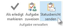 Befehl 'Statusbericht senden' im Menüband