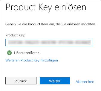 Geben Sie Ihren aus 25 Zeichen bestehenden alphanumerischen Product Key ein.