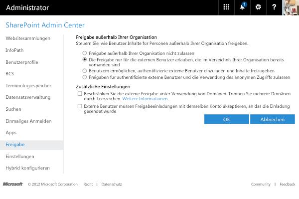 Externe Freigabeoptionen im SharePoint Admin Center