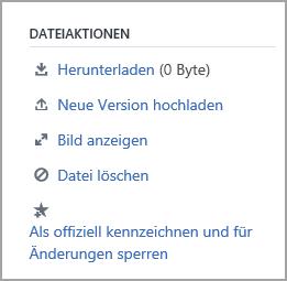 Liste der Aktionen, die Gruppen Administratoren für eine Datei verwenden können