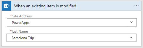 SharePoint - wird ein bestehendes Element geändert Trigger mit Website-Adresse und Namen
