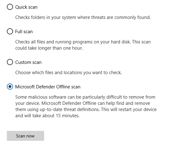 The Scan options dialog showing Microsoft Defender Offline scan selected.