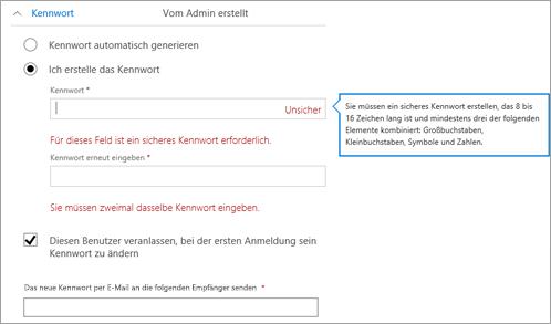 Zeigt die Kennwortanforderungen, wenn Sie ein anfängliches Kennwort für den Benutzer erstellen möchten.
