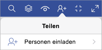 "Option ""Personen einladen"" in Visio Viewer für iPad"
