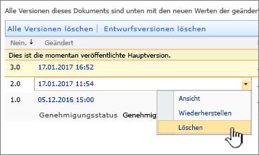 """Dropdown """"Versionsverwaltung"""" für eine Datei, Option """"Löschen"""" hervorgehoben"""
