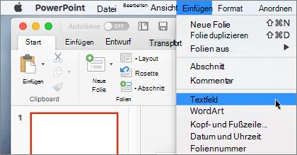 Das Element im Textfeld im Menü Einfügen