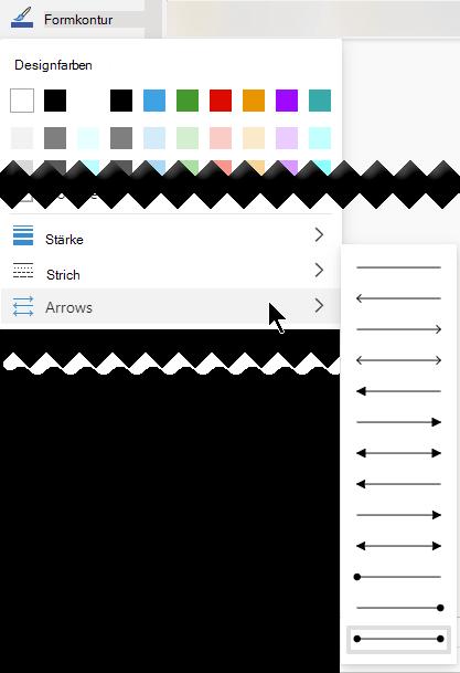 Visio für das Web bietet mehrere Optionen für die Richtung und den Stil von Pfeilen.
