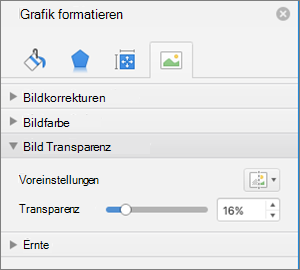 Passen Sie die Farbe Transparenz im Bereich Grafik formatieren