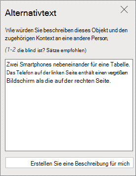"Dialogfeld ""Alternativtext"" in PowerPoint Online."