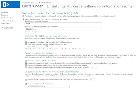 Einstellungen für die Verwaltung von Informationsrechten (IRM)