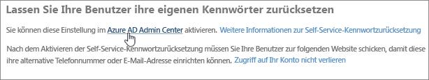 Klicken Sie auf den Link, um zum Azure Admin Center zu wechseln.