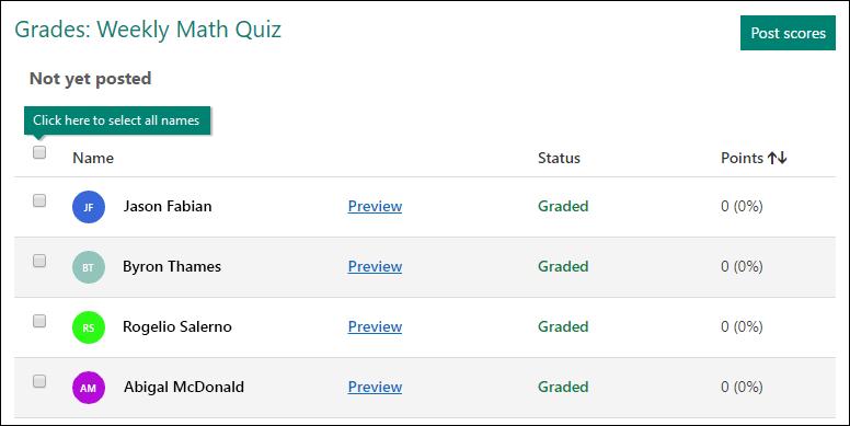 Überprüfen, Auswählen und Posten von Punktzahlen