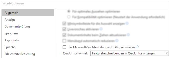 Das Dialogfeld > Dateioptionen mit der Standardoption Reduzieren des Microsoft Search-Felds.