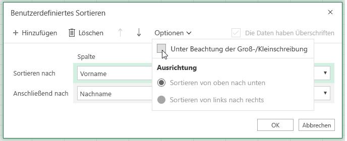 """Dialogfeld für benutzerdefinierte Sortierung, wenn """"Groß-/Kleinschreibung beachten"""" ausgewählt ist"""