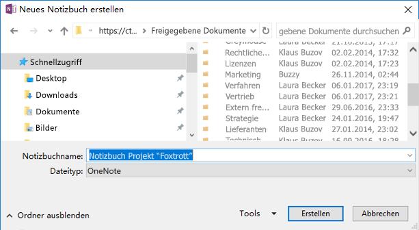 """OneNote für Windows 2016: Dialogfeld """"Neues Notizbuch erstellen"""""""