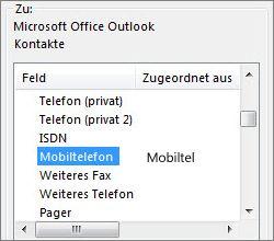 """""""Handynr"""" wird dem Outlook-Feld """"Mobiltelefon"""" zugeordnet"""
