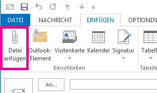 """Klicken Sie auf der Registerkarte """"Einfügen"""" auf """"Datei anfügen""""."""