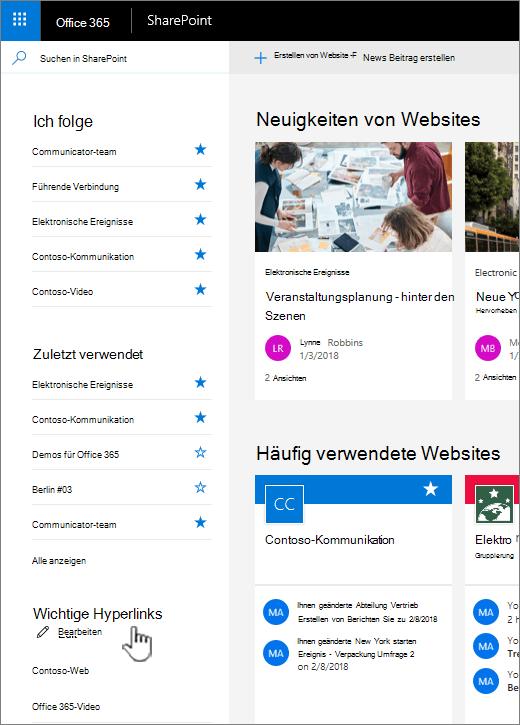 Liste der Links auf der Homepage der SharePoint online