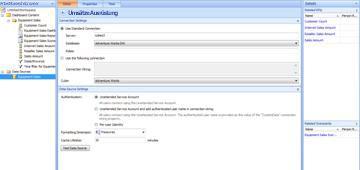 Dashboard-Designer-Seite mit 'Ausrüstungsumsätze' als neue Datenquelle