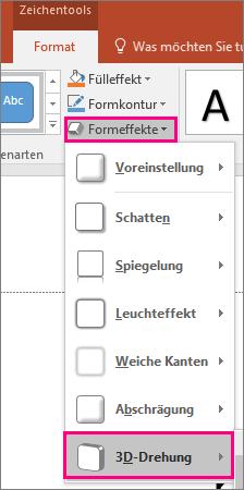 """Zeigt die Option """"3D-Drehung"""" im Menü """"Formeffekte"""" von PowerPoint2016."""