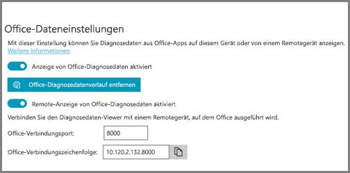 Die Diagnosedaten-Viewer-Einstellungen mit der Office-Verbindungszeichenfolge
