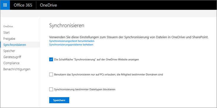 """Registerkarte """"Synchronisieren"""" im OneDrive Admin Center"""