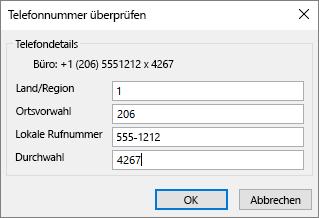 """Wählen Sie in Outlook auf der Visitenkarte unter Telefonnummern eine Option aus, und aktualisieren Sie bei Bedarf das Dialogfeld """"Telefonnummer überprüfen""""."""