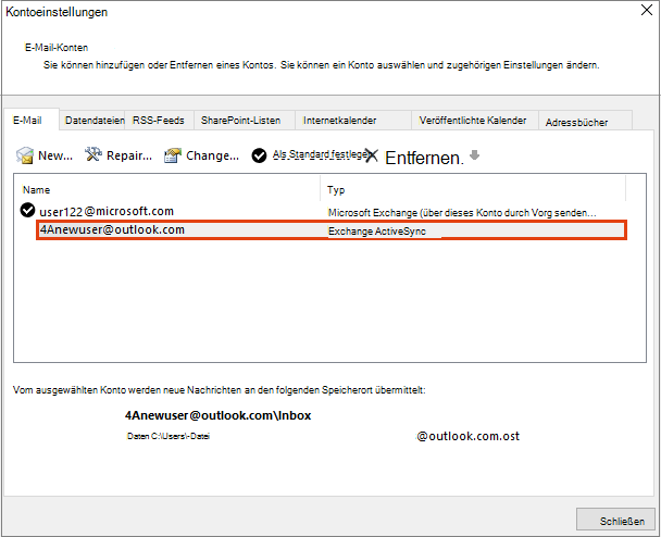 Outlook-Kontoeinstellungen, E-Mail-Konten