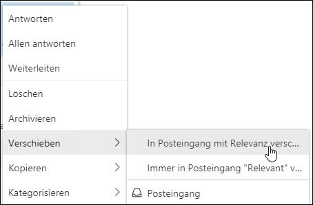 """Ein Screenshot zeigt das Kontextmenü mit der Option """"in den Posteingang mit Relevanz verschieben"""" und """"immer in den Posteingang mit Relevanz verschieben""""."""