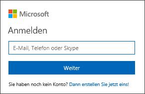 Anmelden bei Office mit einer E-Mail-Adresse und einem Kennwort für ein Microsoft-Konto