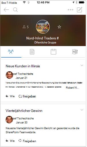 Unterhaltungsansicht der Gruppen Outlook mobile-app