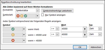 Dialogfeld mit Optionen für Symbolsätze für bedingte Formatierung