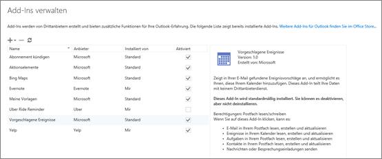 """Screenshot des Fensters """"Add-Ins verwalten"""", in dem Sie Add-Ins hinzufügen oder entfernen, Informationen zu einem Add-In anzeigen und zum Office Store wechseln können, um nach weiteren Add-Ins für Outlook zu suchen. Das Add-In """"Vorgeschlagene Besprechungen"""" ist ausgewählt, und es werden Informationen zu diesem Add-In angezeigt."""
