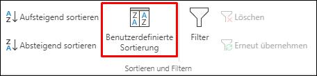"""Benutzerdefinierte Sortieroptionen in Excel auf der Registerkarte """"Daten"""""""