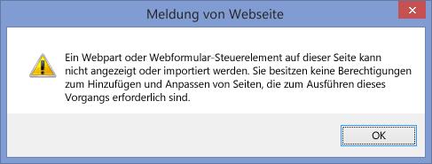 Angezeigte Fehlermeldung, wenn Skripting auf einer Website oder in einer Websitesammlung deaktiviert ist