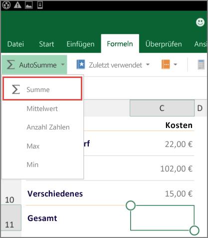 Excel für Android-Menüband, Menüzugriff