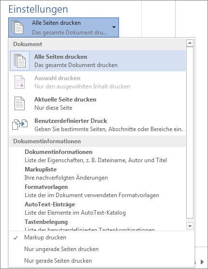 Screenshot des Bereichs 'Drucken' mit erweitertem Menü 'Alle Seiten drucken', um weitere Optionen anzuzeigen