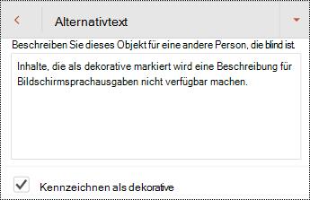 """Im Dialogfeld """"Alternativ Text"""" in PowerPoint für Android ausgewählte als dekorativ markieren"""