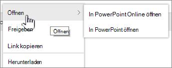 """Datei-Auslassungsmenü mit hervorgehobener Option """"Öffnen"""""""