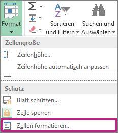 Registerkarte 'Start' mit Schaltfläche 'Format' und Befehl 'Zellen formatieren' im Menü