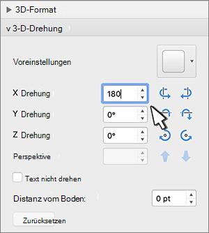3D-Drehungs Abschnitt mit ausgewählter X-Drehung