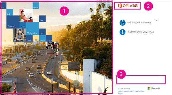 Anpassbare Bereiche der Office 365-Anmeldeseite