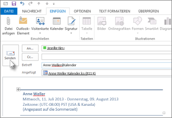 Senden Eines Outlook Kalenders Per E Mail Outlook