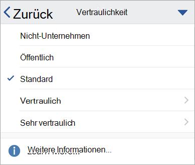 Screenshot der Vertraulichkeits Beschriftungen in Office für IOS