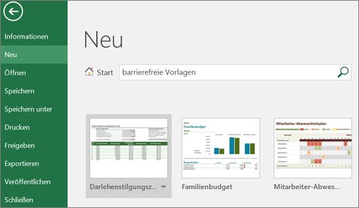 """Der Bildschirmausschnitt der Excel-Benutzeroberfläche zeigt das Suchfeld, ausgefüllt mit dem Suchbegriff """"accessible templates"""" (barrierefreie Vorlagen) und Suchergebnissen für barrierefreie Vorlagen."""