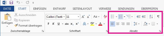 """Die Symbole für """"Blocksatz"""" befinden sich in der Gruppe """"Absatz""""."""